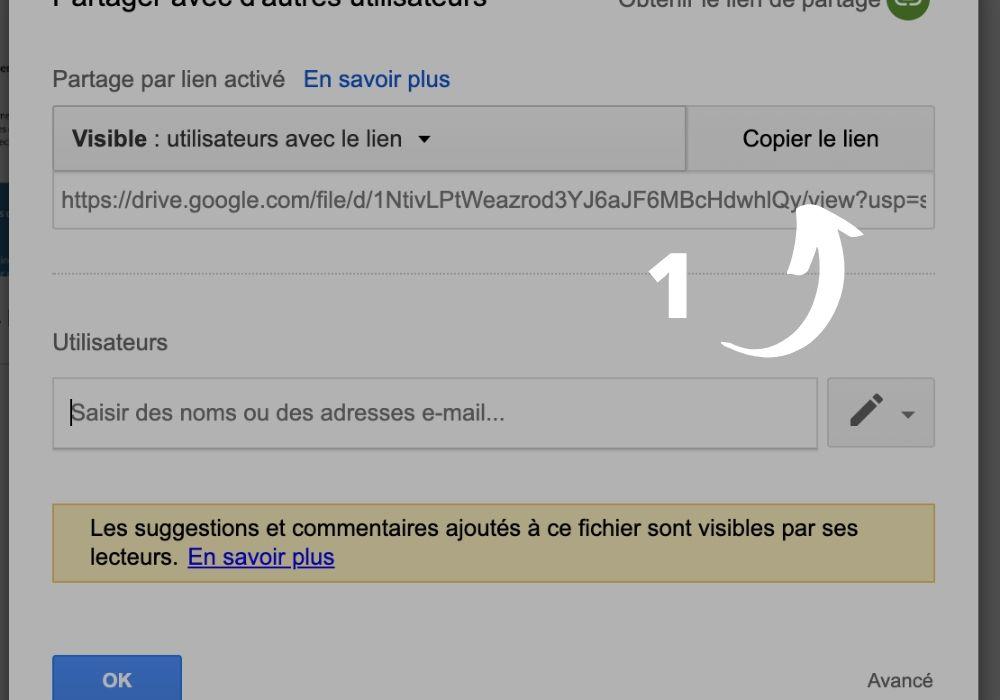 Créer un lien de partage dans Google Drive